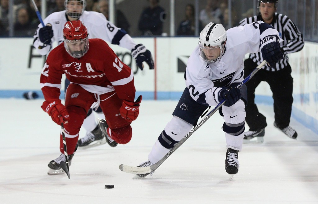 Penn State's Connor Varley (2) against Wisconsin on Jan. 15, 2016. No. 15 Penn State won 4-3 in sudden death overtime. Photo/Craig Houtz